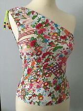 RARE VINTAGE CHRISTIAN DIOR Floreale Multi-colore/One-spalla Top S 10 indossata una volta