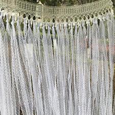 SHABBY Vtg  Ivory Lace Backdrop wedding banner Valance Fabric Garland Bunting