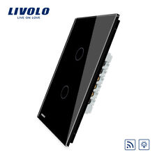 Livolo US/AU Wireless Dimmer Remote Wall Light switch Black Crystal Glass Panel