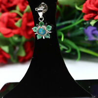 NATURAL 5 mm. WHITE RAINBOW OPAL & GREEN EMERALD PENDANT 925 SILVER