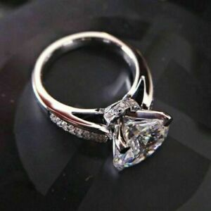 3 CT Round Cut Brilliant Diamond Engagement Wedding Ring In 14k White Gold Over
