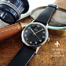 NOS 1950's GLYCINE Swiss Manual Wind Military Style AS Cal. 1502, Strap & Buckle