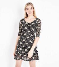 Blue Vanilla Black Floral Lace Skater Dress Size 14
