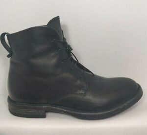 MOMA Black Leather Lace Up Side Zip Biker Ankle Boots Women EU 37 Made In Italy