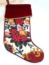 "Vintage Handmade Wool Needlepoint ELEGANT FLORAL Christmas Stocking 18"" long"
