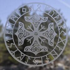 Icelandic asatru viking  rune Thor's hammer mjolnir etched glass vinyl decal