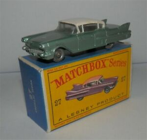 Rare Green.1960s.Lesney Matchbox 27 Cadillac Sixty Special.Nr Mint in box,Orignl