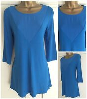 NEW EX M&S BLUE JERSEY & CREPE INSERT TUNIC TOP SIZE 8 - 22