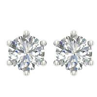 6 Prong Solitaire Studs Earrings I1 G 0.40Ct Round Diamond 14K White Gold 3.70MM