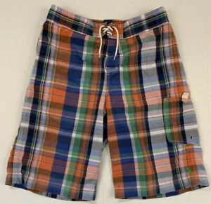 polo ralph lauren plaid cotton nylon swim trunks board shorts sz boys xl 18 20