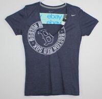 Nike Women's T-Shirt Size M blue Boston Red Sox V-Neck Short Sleeve Slim Fit NWT