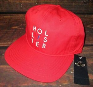 MENS HOLLISTER RED SNAPBACK HAT ADJUSTABLE CAP ONE SIZE