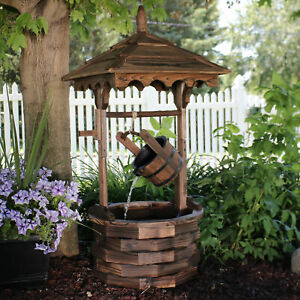 """Sunnydaze Old-Fashioned Wood Wishing Well Outdoor Water Fountain Feature - 48"""""""