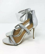 Madden Girl Womens 9.5 Stiletto Ankle Strap Heels Open Toe Shoes Silver Metallic