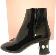 Miu Miu- Prada Ankle Boots Crystal Heel Black Patent Leather Booties 37
