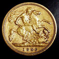*Australia Gold Half Sovereign 1896 Melbourne Mintmark Queen Victoria  RARE DATE