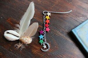 Pretty Handmade Rainbow Turquoise Stone Star Bead Silver Bookmark