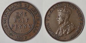 1930 AUSTRALIA HALF PENNY - GEORGE V - 8 PEARLS - LOW MINTAGE COIN  (KJ109)