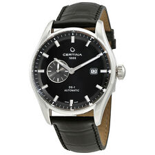 Certina DS 1 Automatic Black Dial Black Leather Mens Watch C0064281605100