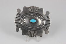 ROLAND DIXSON STERLING SILVER BLUE SCALLOPED TURQUOISE STONE BELT BUCKLE 0568