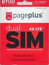 Page Plus 4G Lte Dual Micro/Standard Sim Card -Verizon Network! Unlimited plans!