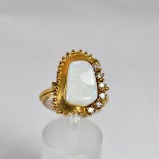 Opal Goldring Gelbgold 585 Ring Größe 58 Handarbeit Idar Oberstein Brillant