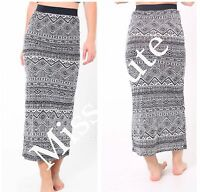 WOMENS LADIES CASUAL STRETCH AZTEC PRINT LONG JERSEY MAXI SKIRT PLUS SIZE 8-26