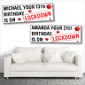 2 PERSONALISED LOCKDOWN BIRTHDAY BANNERS - DESIGN 2 - ANY NAME/AGE - 800 X 297MM