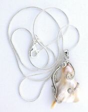 Creme White Baroque Blister Pearl 18Kt Goldplated Pendant + FREE 21 Inch Chain
