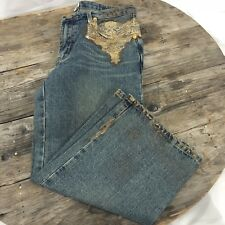 Cache Womens Capris Denim Size 8 Embellished Bead Lace Gold Tone Exquisite!