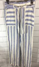 C&C CALIFORNIA Blue White Striped LINEN Relaxed Leg Elastic belt Pants Size S (G