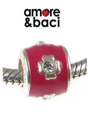 AMORE & BACI ARGENTO 925, Rosso Smalto & Cristallo Swarovski Fiore Charm Bead