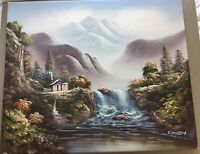 "Oil painting signed original R. Boren Mountain landscape On Canvas 24"" X 20"""