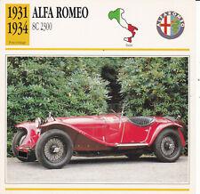 ALFA ROMEO 8C 2300 - ITALIE 1931/34 - CARTE FICHE COLLECTOR VOITURE OLDTIMER