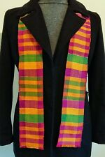 "4.5x60"" African Kente Cloth Stole Scarf, From Ghana, Purple Green, Graduation"