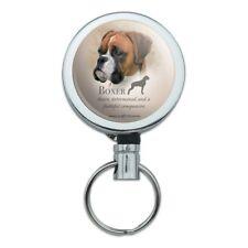 Boxer Dog Breed Metal Retractable Belt Clip Reel ID Badge Key Card Tag Holder
