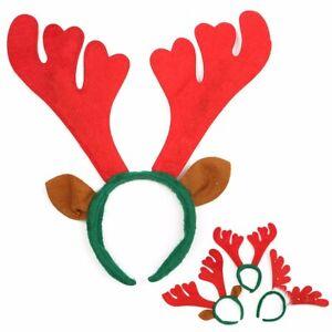 Reindeer Antlers Hat Christmas Fancy Dress Bells Festive Stag Deer Ears  ~ t