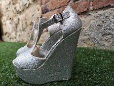 Amour ~ Silver Glitter tacón con plataforma, peep toe, Boda, Graduación, Fiesta Zapatos ~ Reino Unido 6