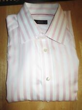 BRIONI Pink & White Striped Cotton French Cuff Dress Shirt 16.5 U.S/42 EU