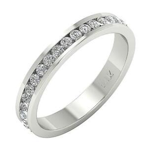 VS1 E 1.00 Ct Natural Round Cut Diamond 14K White Gold Eternity Ring Size 6.25