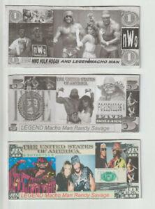 wcw,wwe,MLB, star Macho Man Randy Savage Lot of 3 Turbo Hard Feel Novelty Bills.