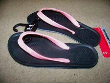 NWT Under Armour UA G Atlantic Dune Flip Flop Sandals Girl's 2Y ~ Pink Black