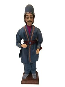 "Handmade Statue Art Wax Traditional European Folk Male in Costume 17"" on Stand"