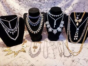22 Piece Vintage and Modern Rhinestone Necklace Lot - Coro