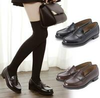 Women School Student Uniform Faux Leather Flats Low Heel Shoes Oxfords Loafers @