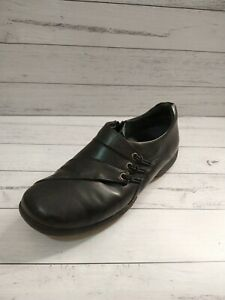 Ziera Black Leather Shoes Size 41 Comfort Side Zip Wide Fit