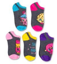 Shopkins Glitter Cupcake Chic Kooky Cookie D'lish Donut Child 5pk No Show Socks