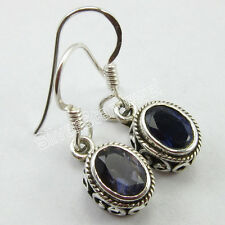 "Earrings 1"", 92.5% Solid Sterling Silver Genuine IOLITE Gemstone ART Jewelry"