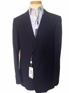 NWT! $1975 Armani Collezioni Jacket Men Dark Blue 100% Virgin Wool Size 42L