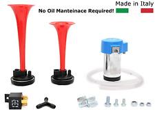 Premium Car 117db Loud Red Dual Trumpet Air Horn Compressor Relay Kit A2/R Marco